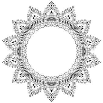 Rahmen in östlicher tradition. stilisiert mit henna-tattoos dekoratives muster zum dekorieren von umschlägen für buch, notizbuch, sarg, magazin, postkarte und ordner. blumenmandala im mehndi-stil.