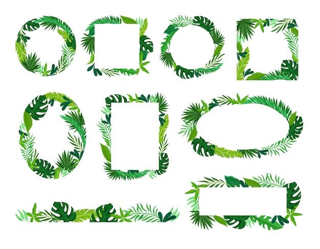 Rahmen in verschiedenen formen aus tropischen blättern. illustration auf weißem hintergrund.