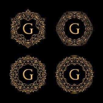 Rahmen luxus mit goldener farbe logo