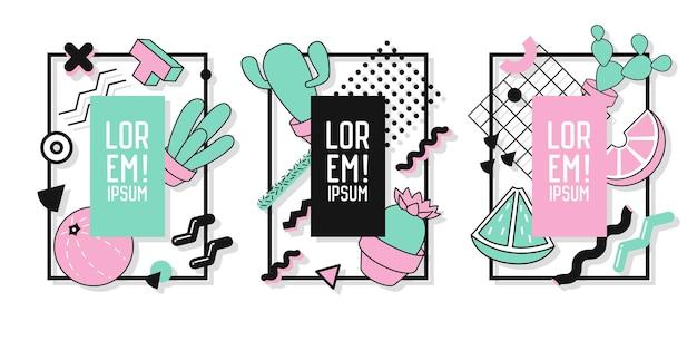 Rahmen mit abstrakten geometrischen elementen und kakteen. moderne kunstgrafiken für flyer, poster, banner, plakate, broschüren mit platz für text. vektor-illustration