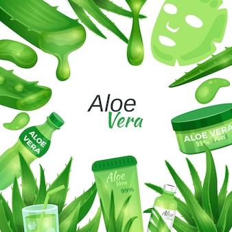 Rahmen mit aloe vera kosmetik und elementen