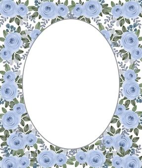 Rahmen mit blauen rosen aquarell