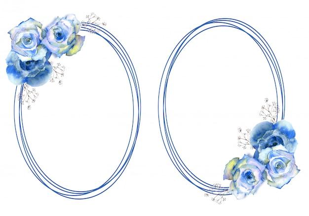Rahmen mit blauen rosenblüten auf ovalem rahmen auf weißem hintergrund.