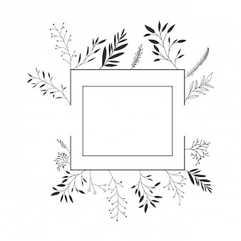 Rahmen mit blumen isoliert symbol