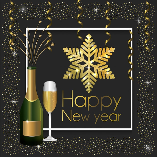 Rahmen mit champagnerflasche und glas zum neuen jahr