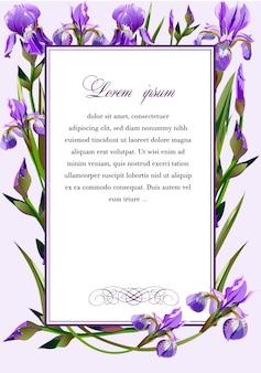 Rahmen mit den blumen der iris