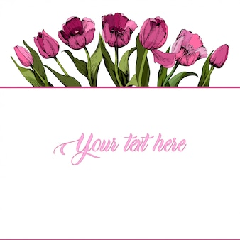 Rahmen mit farbigen rosa tulpen