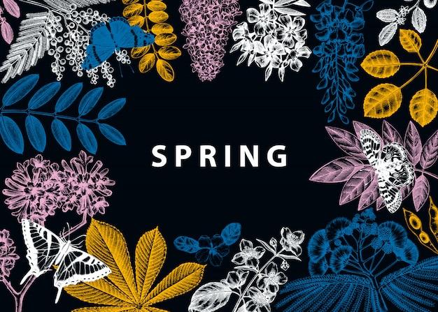 Rahmen mit frühlingsbäumen in blumenillustrationen. hand gezeichneter blühender pflanzenhintergrund. vektorblume, blatt, zweig, baumskizzenschablone. frühlingskarte oder grußkarte.