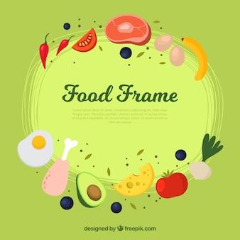Rahmen mit gesundem essen und fleisch