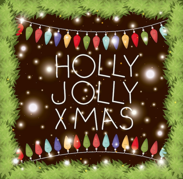 Rahmen mit girlanden und weihnachtsbeleuchtung