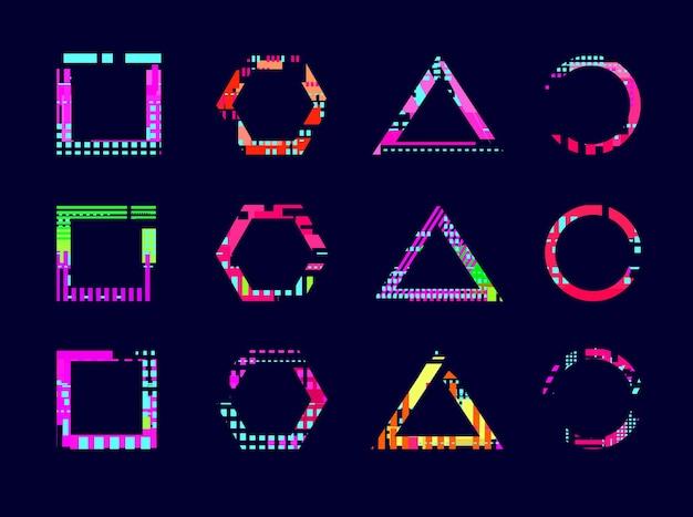 Rahmen mit glitch-effekt. abstraktes modernes design, neon-gebrochene kreisdreieckform. geometrische glitzernde digitale textur, zerstörter kunstvektorsatz. illustration glitch-effekt, digitale trendige form