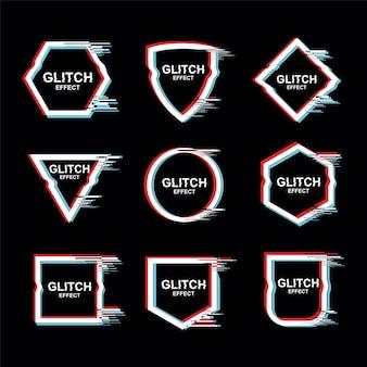 Rahmen mit glitch-effekt-vektor-set