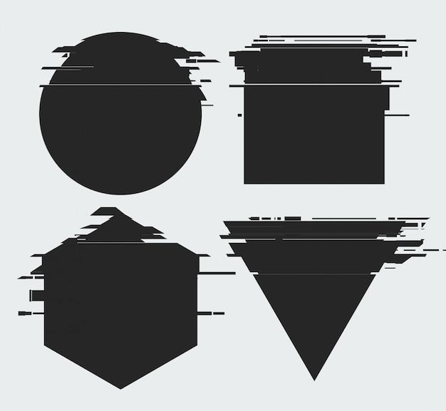 Rahmen mit glitch-tv-verzerrungseffekt und einem platz für text, geometrische formen stern, dreieck, kreis, quadrat, raute, isoliert auf weißem hintergrund, illustration