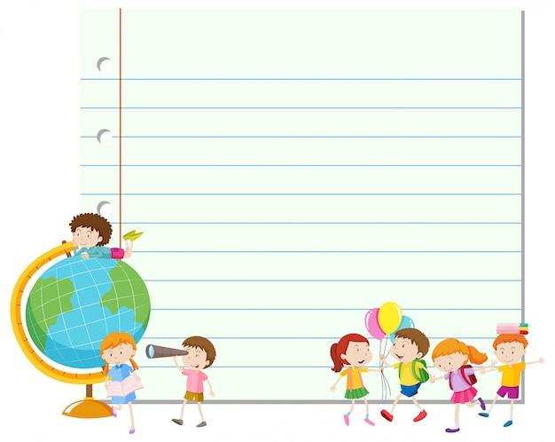Rahmen mit glücklichen kindern und globus