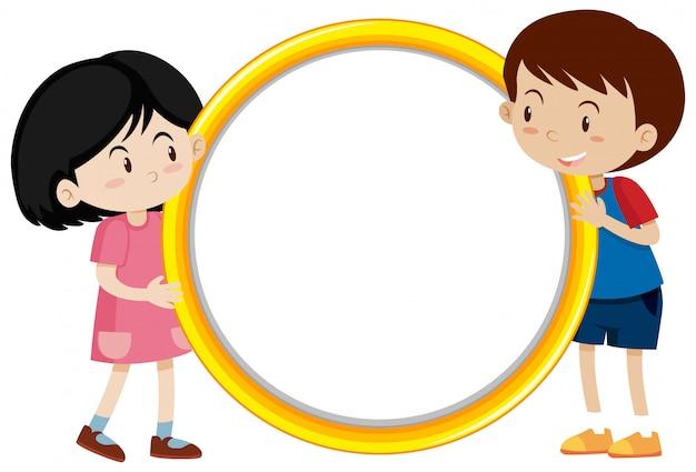Rahmen mit glücklichen kindern