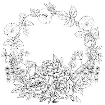 Rahmen mit handgezeichnetem kranz von pfingstrosenblumen und -pflanzen auf weißem hintergrund