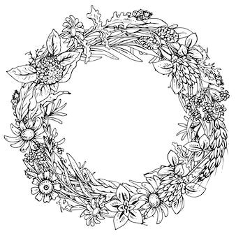 Rahmen mit kräuter- und blütenelementen.