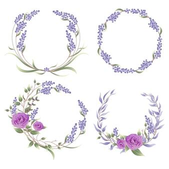 Rahmen mit lavendel und rosenblüten.