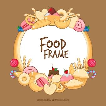 Rahmen mit leckerem essen