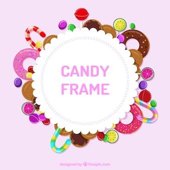 Rahmen mit leckeren süßigkeiten