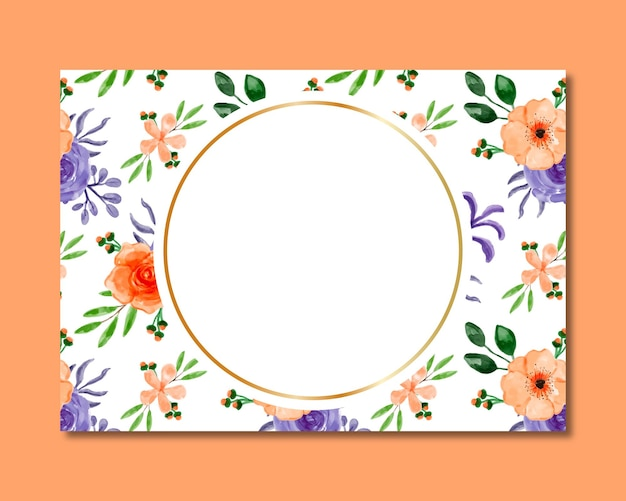 Rahmen mit nahtlosem muster des orange purpurroten blumenaquarells