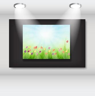 Rahmen mit natürlichem blumenhintergrund in der kunstgalerie. vektor-illusion