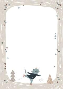 Rahmen mit niedlichem katzen-eislaufen.