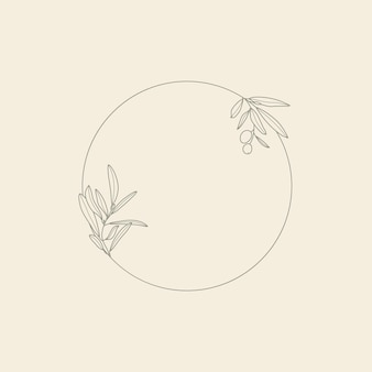Rahmen mit olivenzweig mit blättern und früchten in einem trendigen minimal linearen stil. vektor runder blumenstempel zum verpacken von öl, kosmetik, bio-lebensmitteln, hochzeitseinladungen und grußkarten