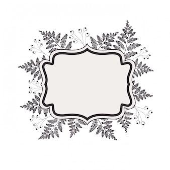 Rahmen mit pflanzen und kräutern isoliert symbol