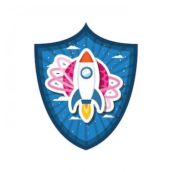 Rahmen mit raketenflug und planet des sonnensystems