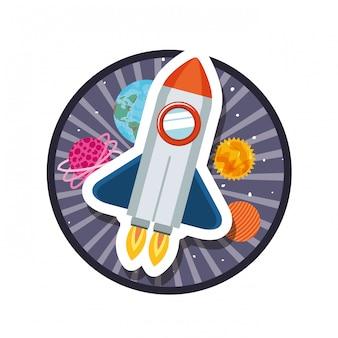 Rahmen mit raketenflug und planeten des sonnensystems