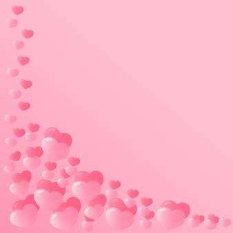 Rahmen mit rosa herzen zum valentinstag.