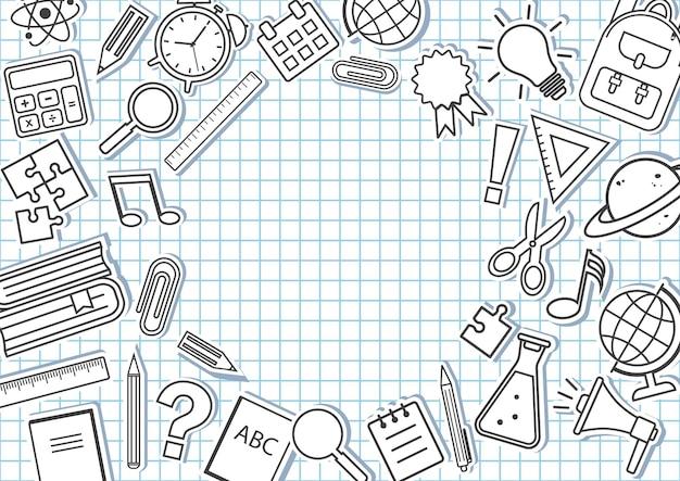 Rahmen mit schulmaterial auf kariertem hintergrund. vektor-illustration