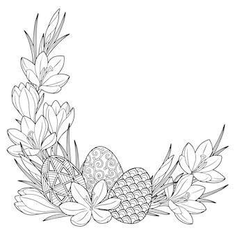 Rahmen mit schwarz-weißen gekritzel-ostereiern