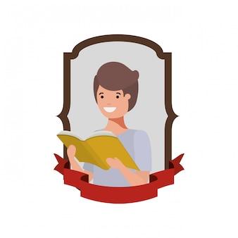 Rahmen mit studentenjungen und lesebuch