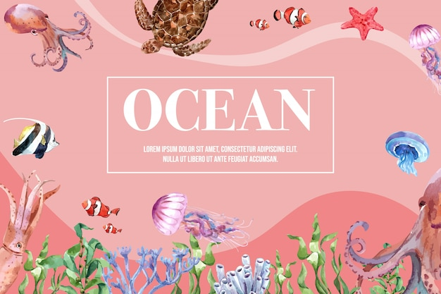Rahmen mit themenorientierter, kreativer warm-getonter farbillustrationsschablone sealife.
