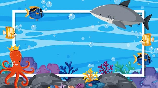 Rahmen mit unterwasserszene im hintergrund