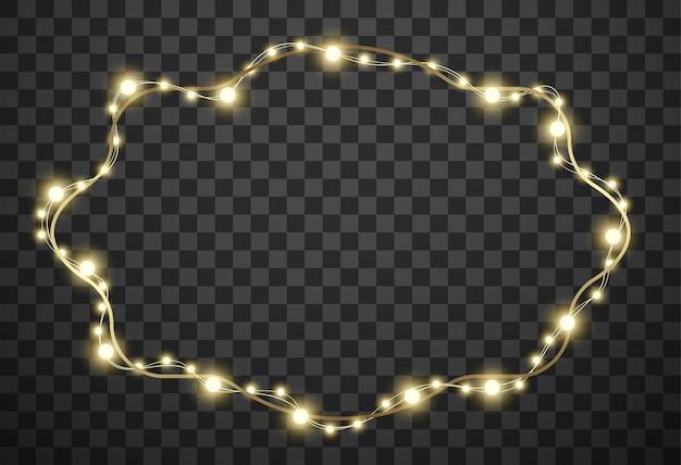 Rahmen mit weihnachtsbeleuchtung auf transparentem hintergrund