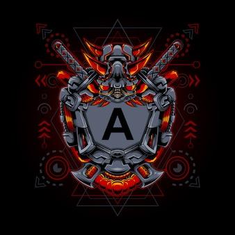 Rahmen oni maske cyborg heilige geometrie illustration