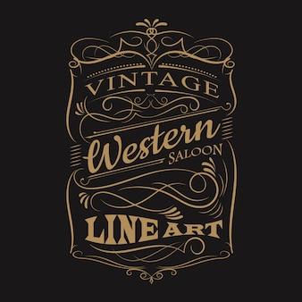 Rahmen-t-shirt design der weinleseaufkleber-typografie westhand gezeichnetes