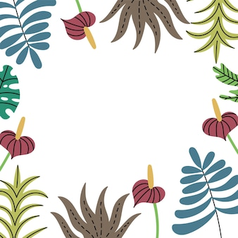 Rahmen tropische dschungelpflanzen seiten exotisches blattmuster