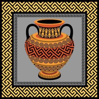 Rahmen und amphore mit griechischem ornament mäander