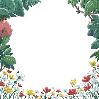 Rahmen von blumen und pflanzen im frühjahr