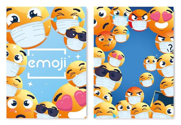 Rahmen von emoji, die medizinische maske tragen, gelbe gesichter mit weißer chirurgischer maske, symbole für coronavirus-ausbruch