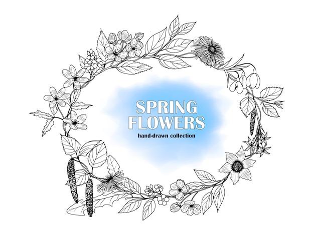 Rahmen von hand gezeichneten frühlingsblumen.