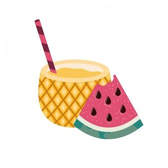 Rahmen von köstlichen tropischen früchten