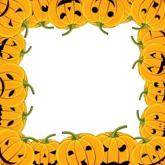 Rahmen von kürbis halloween-karte mit kürbissen