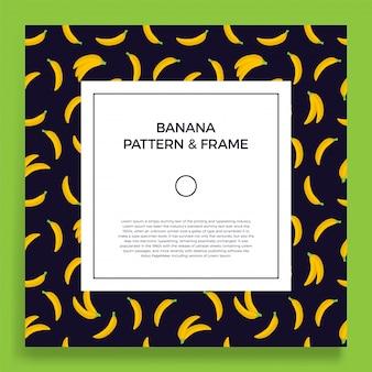 Rahmenbanner mit gelben fruchtbananen. sommerillustration mit einem leeren raum für text