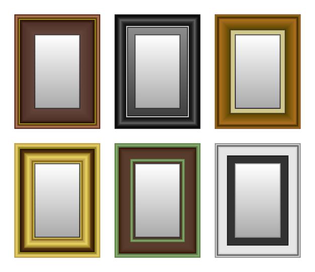 Rahmenbild-fotospiegel. eine reihe von bild- und spiegelrahmen.