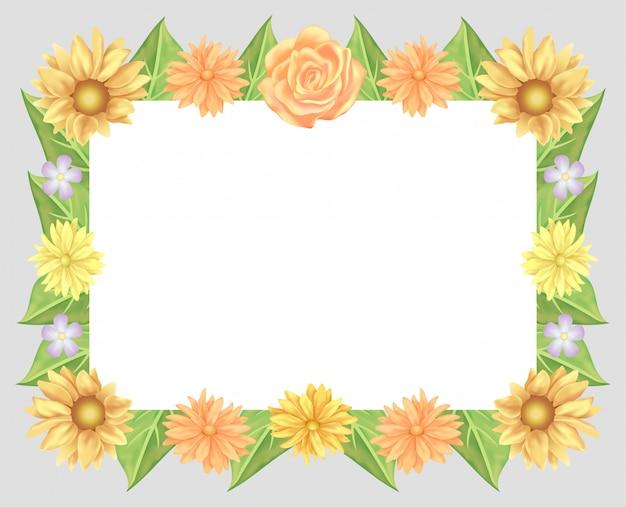 Rahmendekoration mit sonnenblumen, rosenblüten und blättern